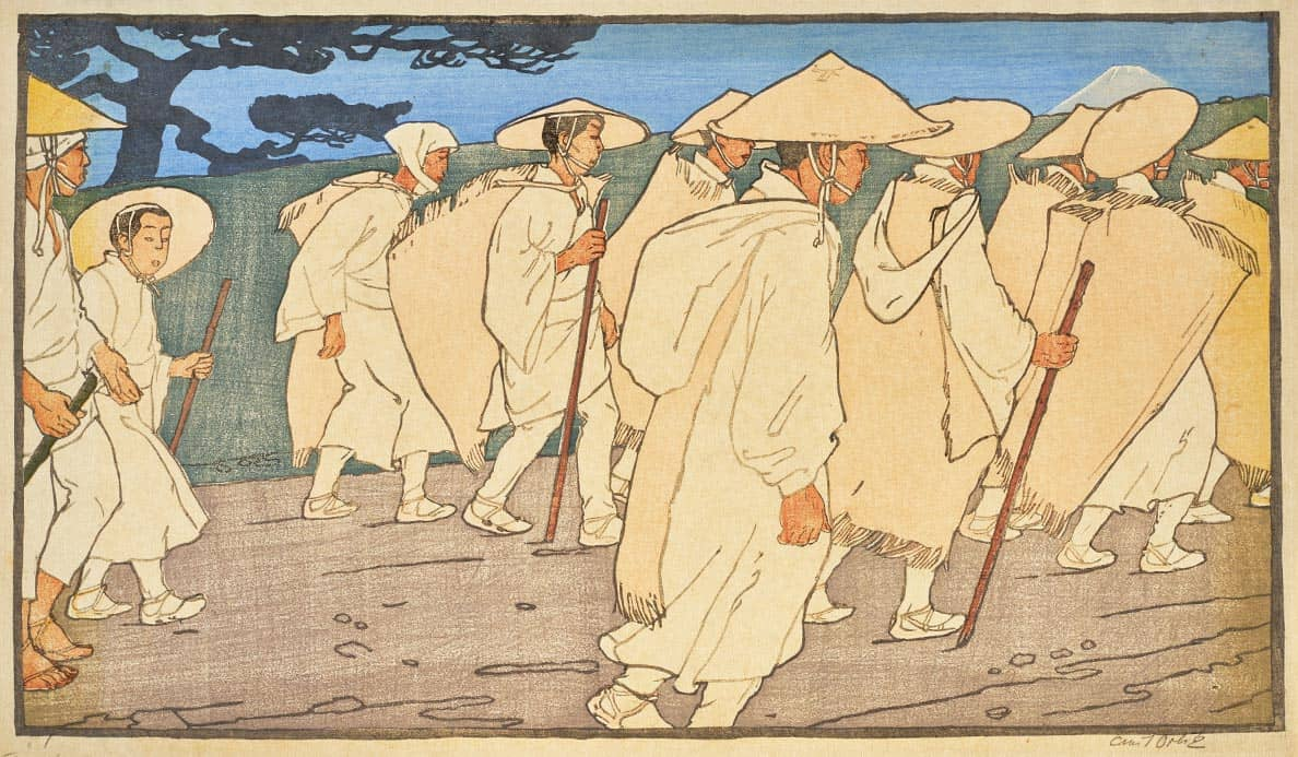 Color in japanese art - Emil Orlik Japanese Pilgrims On The Way To Mount Fuji 1901