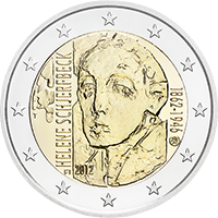 In Finland, Schjerfbeck is venerated as a national heroine. On the occasion of her 150th birthday, in 2012 a two-euro commemorative coin was issued embossed with a self-portrait of the celebrated artist.
