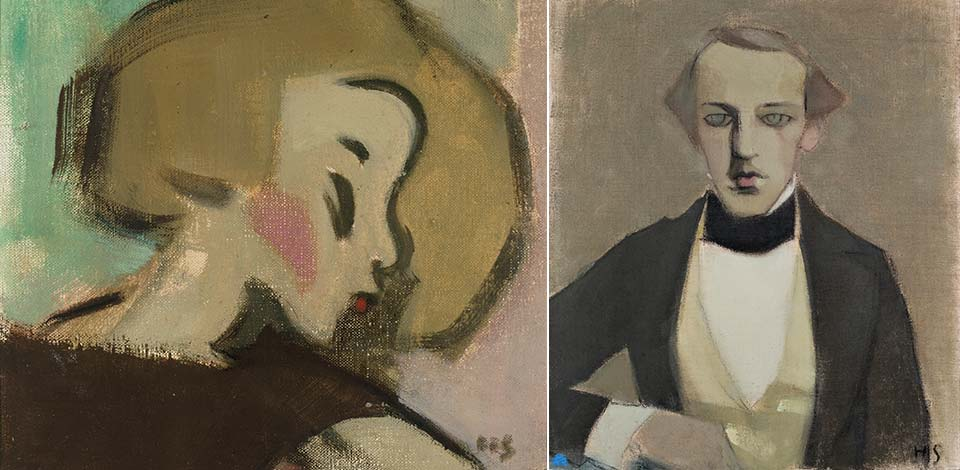 Left: Helene Schjerfbeck, The Apple Girl, 1928<span class='xs-show'>; </span><br class='xs-hide' />Right: Helene Schjerfbeck, My father II, 1943