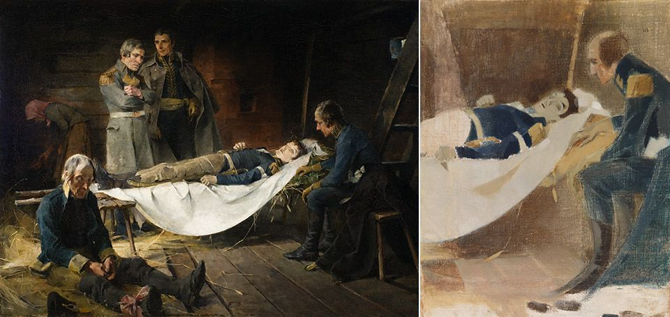 Left: Helene Schjerfbeck, The Death of Wilhelm von Schwerin, 1886<span class='xs-show'>; </span><br class='xs-hide' />Right: Helene Schjerfbeck, The Death of Wilhelm von Schwerin, 1927