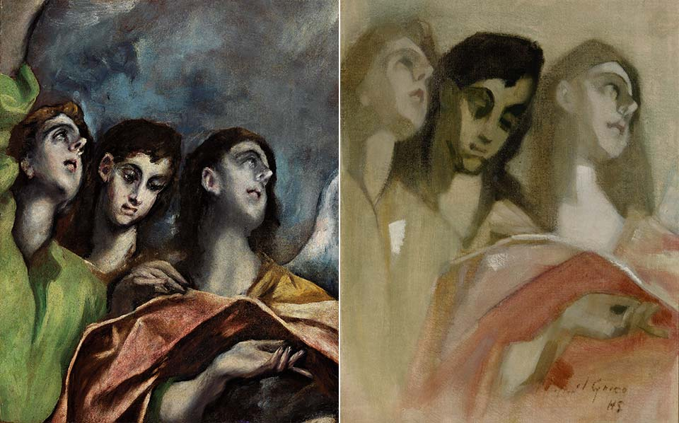 Left: El Greco, Angela (Fragment), ca. 1609-14<span class='xs-show'>; </span><br class='xs-hide' />Right: Helene Schjerfbeck, Angel Fragment, 1928/29