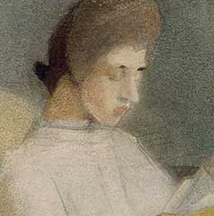 Both women are lost in thought in their reading. This lowered gaze occurs in many of Schjerfbeck's portraits. The faces of her figures often have unnaturally light complexions and are mask-like. Thus the painterly aspect takes priority over realistic depiction.