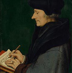 <span class='caption'>Hans Holbein the Younger, Portrait of Erasmus of Rotterdam writing, 1523</span><p>The portrait in the background features Erasmus of Rotterdam, a humanist and scholar from the 15th century. It repeats a painting by Hans Holbein the Younger that Schjerfbeck incorporates into her composition. She had previously studied the original at the Louvre in Paris.